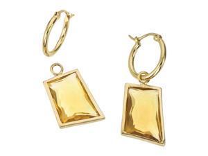Honey Quartz 18K Gold-Plated Silver Baroque Shaped Detachable Dangle Earrings