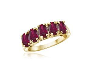 2 2/5 CT TW Ruby Yellow Gold-Plated Sterling Silver 5-Stone Ring by JewelonFire