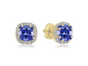 2 2/5 CT Violet Tanzanite and Diamond 18K Gold Multi-Prong Cushion Cut Stud Earrings