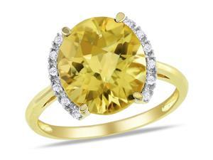 Sofia B 4 4/9 CT TW Citrine 10K Yellow Gold Ring with Diamond Accents