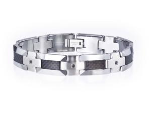 Men's 1/3 CT TW Black Diamond Bracelet in Tungsten and Carbon Fiber by Ax Jewelry
