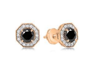 1 1/2 CT TW Black and White Diamond Milgrain 18K Rose Gold Octagon Halo Stud Earrings