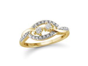1/5 CT TW Diamond 10K Gold Open Design Fashion Ring by JewelonFire