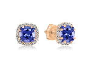 2 2/5 CT TW Tanzanite and Diamond 18K Rose Gold Multi-Prong Cushion Cut Stud Earrings