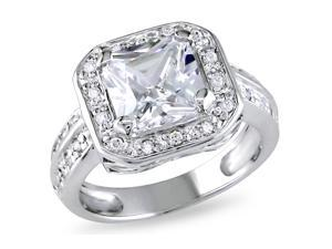 Sofia B 5 3/5 CT TW White Cubic Zirconia Silver Engagement Ring