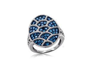 1 CT TDW Blue Diamond Sterling Silver Vintage Style Precious Egg Ring by JewelonFire