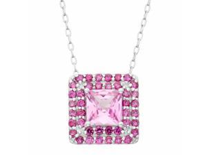Tiara 1 5/6 CT TW Pink Sapphire and Ruby Sterling Silver Necklace