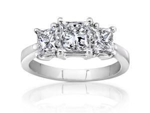 2 CT TW Diamond 14K White Gold 3-Stone Engagement Ring