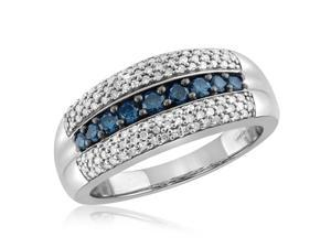 3/4 CT TW Round-Cut Blue and White Diamond Sterling Silver Ring by JewelonFire