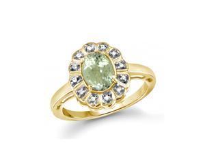 1 1/3 CT TW Green Amethyst and Diamond Gold-Plated Silver Flower Halo Ring by JewelonFire