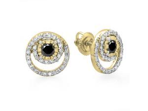 4/5 CT TW Genuine Black and White Diamond 10K Gold Spiral Halo Stud Earrings