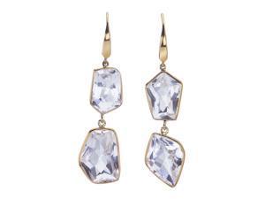 White Quartz 18K Gold-Plated Silver 2-Tier Baroque Dangle Earrings