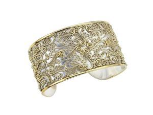 22K Gold-Plated Sterling Silver Vintage Scrollwork Cuff Bracelet by Ax Jewelry