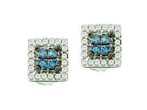 1/3 CT TW Blue Diamond 14K White Gold Square Invisible Set Stud Earrings