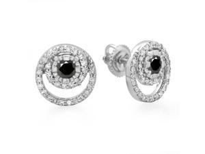 4/5 CT TW Genuine Black and White Diamond 10K White Gold Spiral Halo Stud Earrings