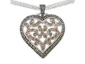 Victoria Crowne Sterling Silver Marcasite Vintage Style Heart Pendant Necklace