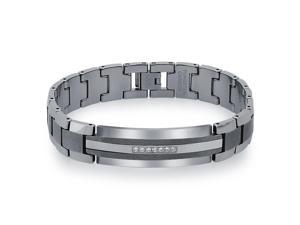 1/5 CT Diamond ID Bracelet in Tungsten and Stainless Steel for Men