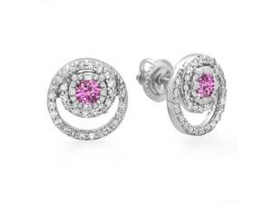 4/5 CT TW Genuine Diamond and Pink Sapphire 10K White Gold Spiral Halo Stud Earrings