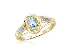 2/7 CT TW Blue Topaz Yellow Silver Swirled Halo Ring with Diamond Accents by JewelonFire