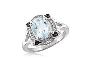 1 2/3 CT TW Aquamarine Sterling Silver Halo Ring with Diamond Accents by JewelonFire