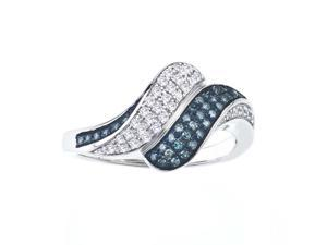 1/4 CT Blue and White Diamond Fashion Ring in Sterling Silver for Women