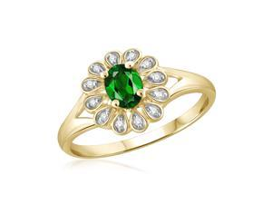 1/4 CT TW Chrome Diopside Gold-Plated Silver Ring with Diamond Accents by JewelonFire