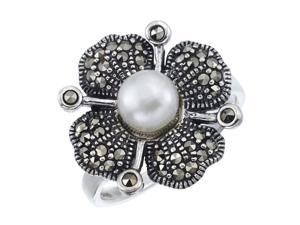 Victoria Crowne Sterling Silver Freshwater Pearl and Marcasite Vintage Flower Ring