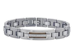 1/10 CT Diamond ID Bracelet in Tungsten and Stainless Steel for Men