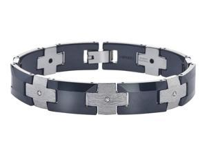 Link Bracelet with Diamond Accents in Ceramic and Tungsten for Men by Ax Jewelry