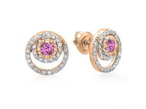 4/5 CT TW Genuine Diamond and Pink Sapphire 10K Rose Gold Spiral Halo Stud Earrings