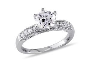 Sofia B 1 2/3 CT TW Lab-Created White Sapphire Engagement Ring with Diamond Accents