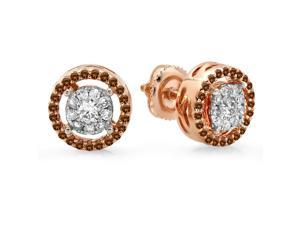 5/9 CT TW Champagne and White Diamond 18K Rose Gold Cluster Halo Stud Earrings