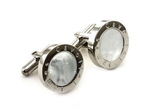 James Cavolini Stainless Steel Mother-of-Pearl Circle Cuff Links