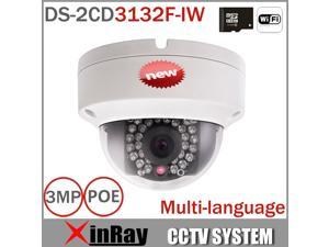 Hikvision DS-2CD3132F-IW 3MP WIFI Mini Dome IP Camera 1080P Security Camera Supports WIFI, TF Card Slot Built-in POE 2.8mm Lens Camera