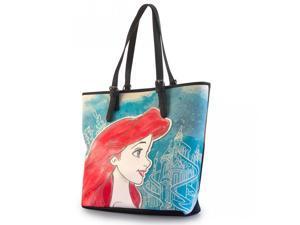 Disney Little Mermaid Ariel Printed Faux Leather Tote Bag