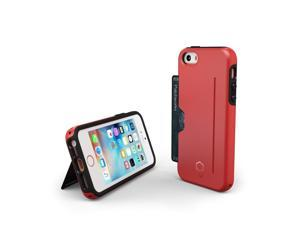 Patchworks® ITG Level Pro with Card Pocket Red for iPhone SE 5s 5 - Military Grade Protection Case with a Card Pocket, Extra Protection for ITG Tempered Glass Screen Protector
