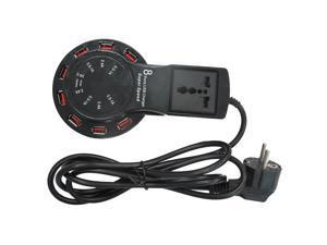 Meree 8 Port USB Hub Charger Qi Wireless Charging Pad and Free USB-C Cable Universal plug socket-Black