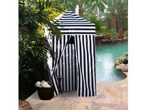 Apontus Striped Portable Changing Cabana Tent Patio Beach Pool Navy White