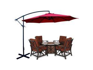 Apontus Offset Patio Umbrella Off Set Outdoor Market Umbrella 10' ft Polyester, Red