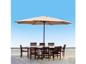 Apontus 13 Foot Market Patio Umbrella Outdoor Furniture Steel Beige