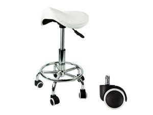 Apontus Footrest Saddle Working Stool Doctor Dentist Salon Spa Barber White Chair Leather