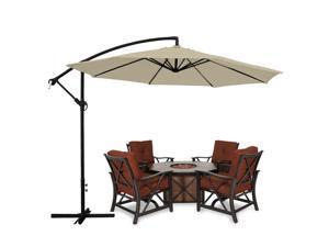 Apontus Offset Patio Umbrella Off Set Outdoor Market Umbrella 10' ft Polyester, Tan