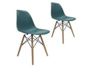 Set of 2 Dsw Molded Side Dining Chair Eiffel Dowel Leg Wood Eames Style Turquoise