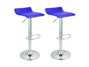 Apontus Bar Stool Counter Air Lift Adjustable Swivel Barstools Chairs (Set of 2) Blue