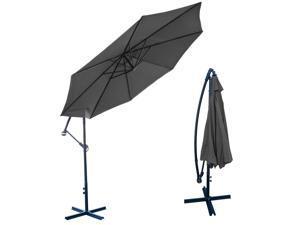 Apontus Offset Patio Umbrella Off Set Outdoor Market Umbrella 10' ft Polyester, Grey