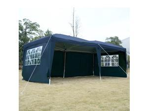 Apontus Outdoor Easy Pop Up Tent Cabana Canopy Gazebo with Walls 10' x 20' Blue
