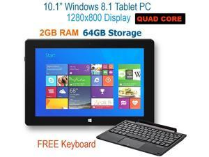 "10.1"" Windows Tablet w/ Detachable Keyboard, Windows 8.1, Intel ATOM Quad Core-2GB RAM 64GB, HD IPS Display 1280x800, 5.0MP Camera, Bluetooth 4.0, HDMI, 2 in 1 Convertible Laptop & Tablet"