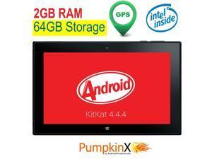 10.1 inch [2GB RAM] 64GB Android 4.4 KitKat [Intel QUAD CORE] Tablet w/ GPS, IPS 1280x800 Display, HDMI, Bluetooth 4.0, full-size USB, WiFi, Play Store-American Pumpkins