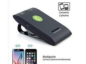 Hands free Speakerphone - Wireless Bluetooth 4.0 Multipoint Sun Visor In-Car Auto Vehicle Speakerphone with Clip for iPhone, Samsung, LG, HTC, Nexus, iPad Android Cell Phones or Tablet PC