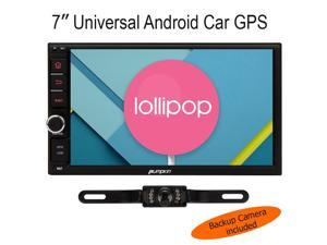Pumpkin UNIVERSAL QuadCore 7 inch 2-Din Android 5.1 Lollipop Car Stereo Radio HD 1024600 Muti-touch Screen GPS Navigation, 3G WIFI Bluetooth OBD2 Mirror Link with Backup Camera